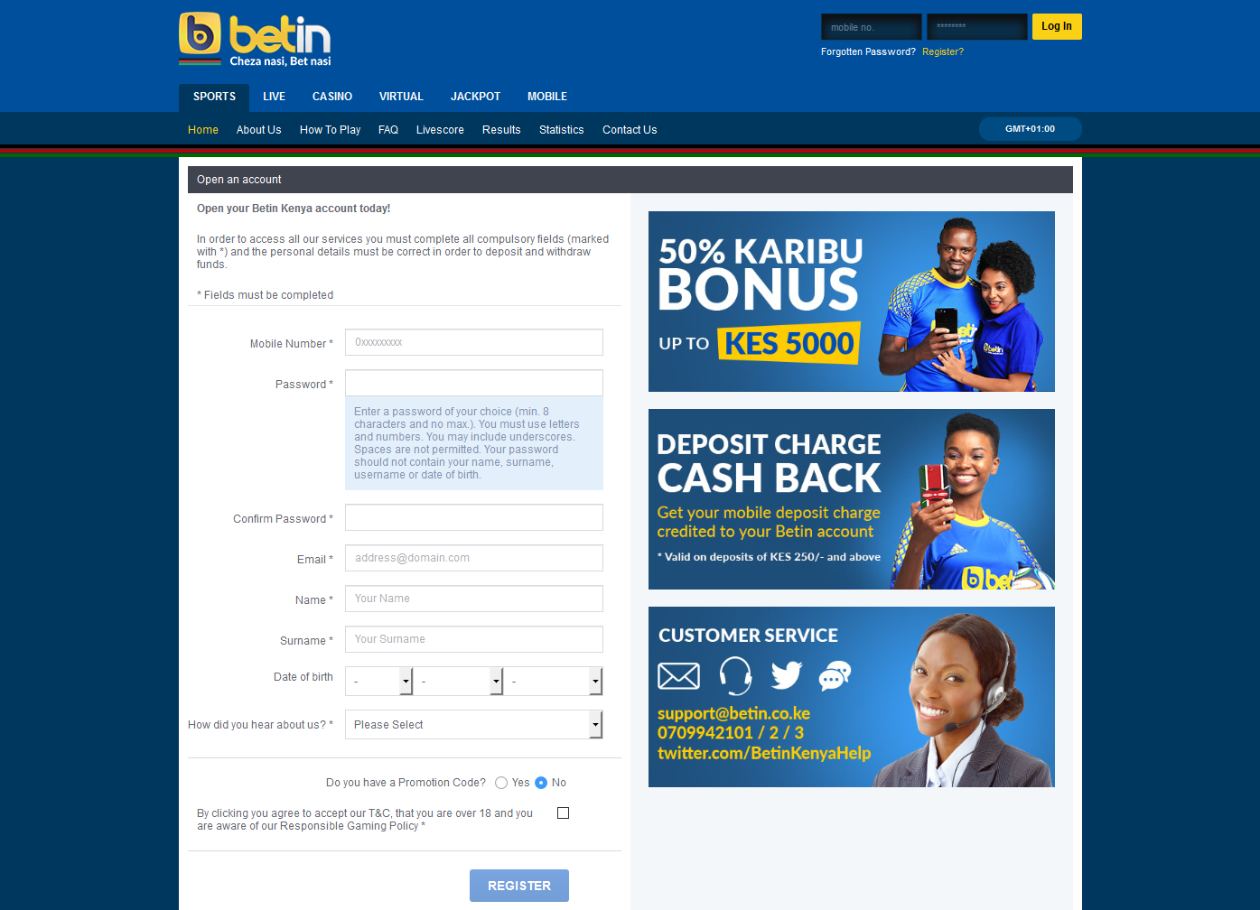 Registration on Betin | KenyanBets