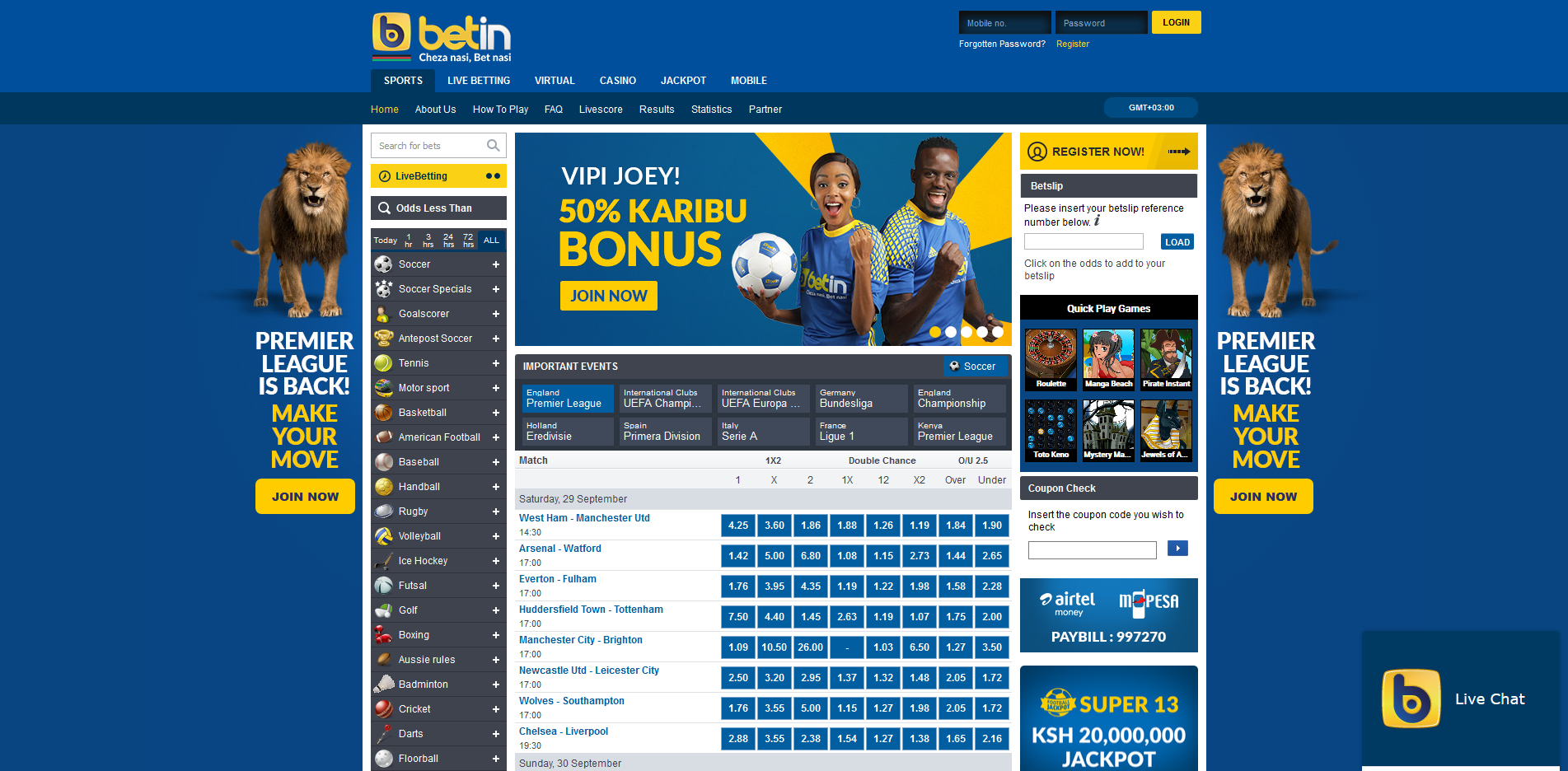 Betin interface