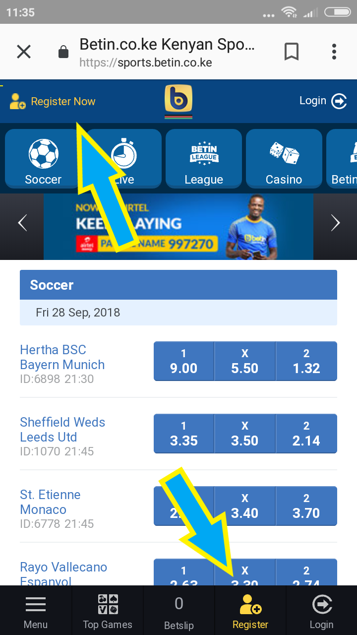 Betin mobile registration