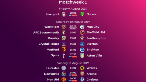 ENGLISH PREMIER LEAGUE FIXTURES: WEEK ONE EPL FIXTURES