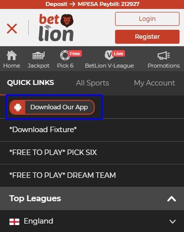betlion download app